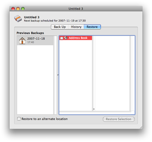 Backup's Interface for restoring Address Book contacts