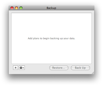 Backup's Startup Window