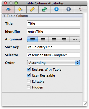 Setting column sort keys and selectors for NSTableColumns