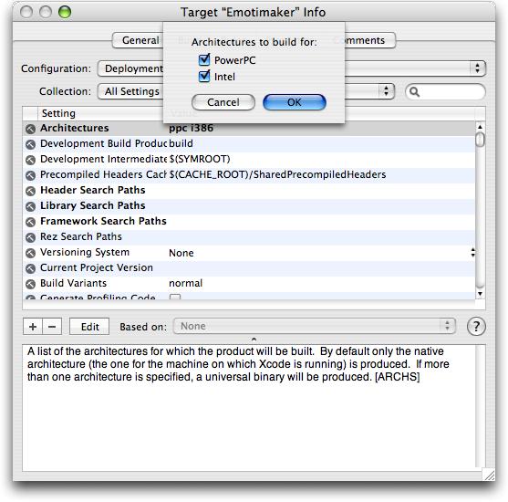Xcode Target Inspector Window